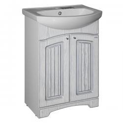 Тумба для ванной Крит-55, под умывальник Элеганс-55, патина серебро