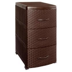 Комод Ротанг, 3 ящика, коричневый