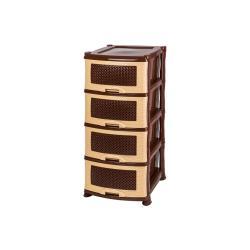 Комод Плетенка, 4 ящика, бежевый/коричневый