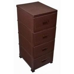 Комод Ротанг, 4 ящика, коричневый