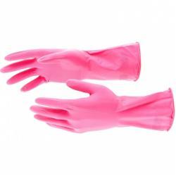 Перчатки хозяйственные латексные, размер S (розовые)