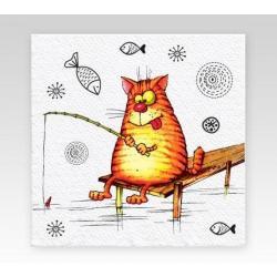 Салфетки бумажные однослойные Семья и комфорт. Коты, 50 штук