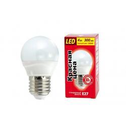 Лампа светодиодная Красная цена P45, 4 Вт, E27, теплый белый свет