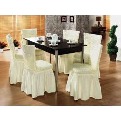 Чехлы на стулья, 6 штук в наборе, цвет ванильный